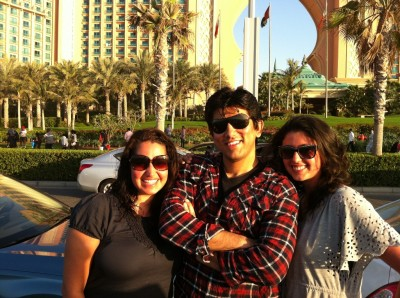 We with one of our colleagues in front of the Atlantis hotel