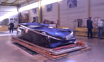 Racing car for a formula race! Secured on the pallet and ready to be loaded into our freighter.