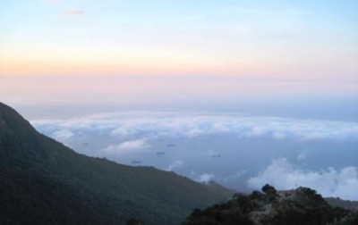 View to the Caribbean sea from the mountains surrounding the city