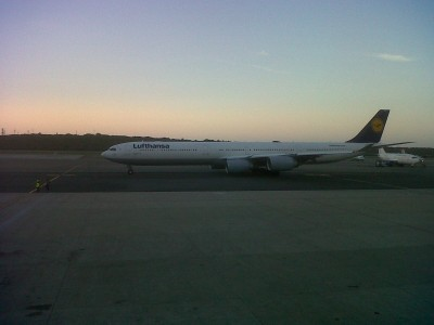 Our flight LH535 departing to Frankfurt in a nice sunset.