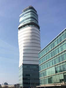 Vienna airport's control tower is located just across the street