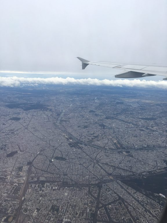 Birds eye view after take off over Paris