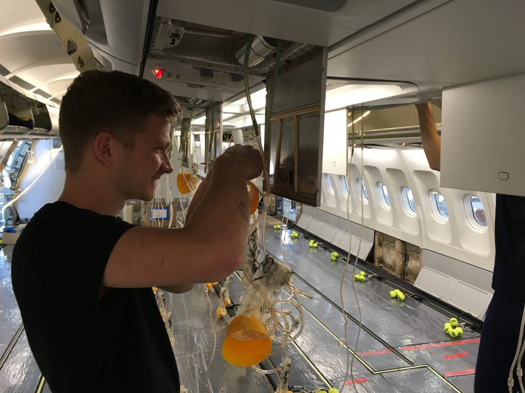 Check of the oxygen masks in the cabin