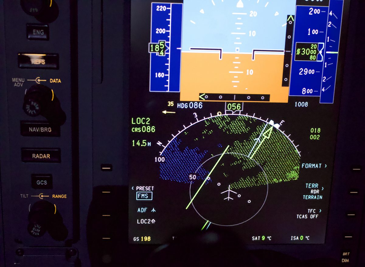 HSI display in the cockpit