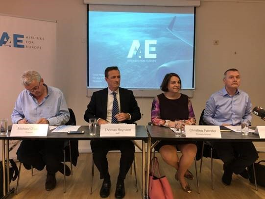 A4E Press Conference with Michael O'Leary (CEO Ryanair), Thomas Reynaert (Managing Director A4E), Christina Förster (CEO Brussels Airlines) and Willie Walsh (CEO IAG)