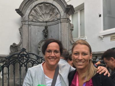 "Caro and her tandem partner in front of the famous ""Manneken Pis"""